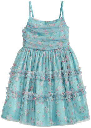 Bonnie Jean Little Girls Floral-Print Mesh Dress