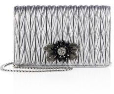 Miu MiuMiu Miu Delice Jeweled Matelasse Metallic Leather Clutch