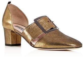 Sarah Jessica Parker Women's Anahita Nubuck Leather d'Orsay Block-Heel Pumps