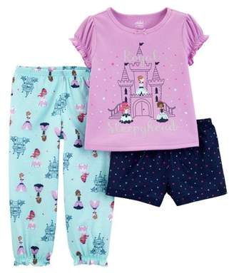 Carter's Child of Mine by Short sleeve t-shirt, shorts, and pants, 3 piece pajama set (toddler girls)