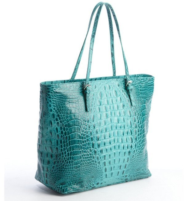 Furla turquoise animal skin embossed leather 'New Shopper' tote