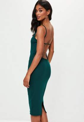 Missguided Green Jersey Strap Scoop Back Midi Dress, Green