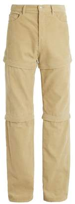 Balenciaga Detachable Panel Cotton Corduroy Trousers - Mens - Beige