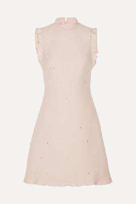 Miu Miu - Ruffle-trimmed Embellished Wool And Silk-blend Mini Dress - Pastel pink