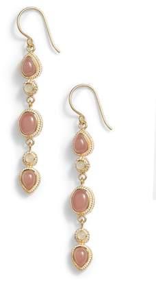 Anna Beck Guava Quartz & Moonstone Linear Drop Earrings