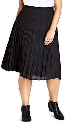 City Chic Plus Accordion Pleat Midi Skirt