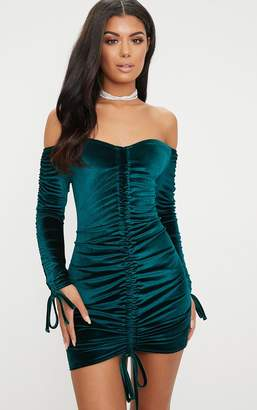 PrettyLittleThing Emerald Green Bardot Velvet Ruched Arm Ruched Front Bodycon Dress