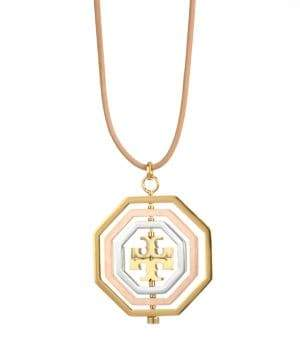 Tory Burch Logo Spinner Pendant Necklace