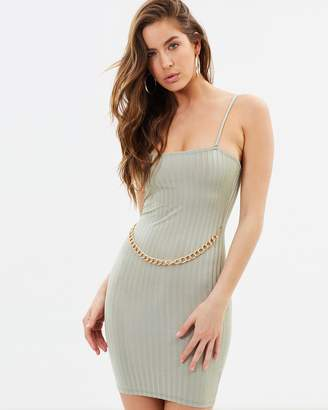 Missguided Rib Chain Front Mini Dress