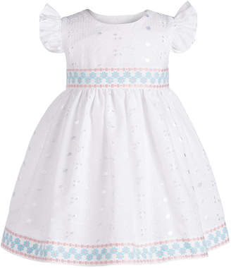 Bonnie Baby Baby Girls Eyelet Lace Flutter-Sleeve Dress