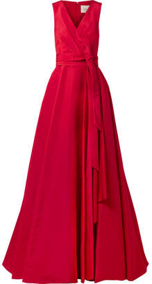 Gathered Silk-faille Gown - Claret