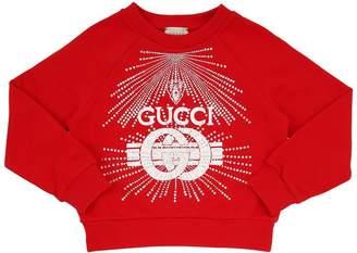 Gucci Embellished Logo Print Cotton Sweatshirt
