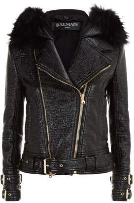 Balmain Fur Trim Aviator Jacket