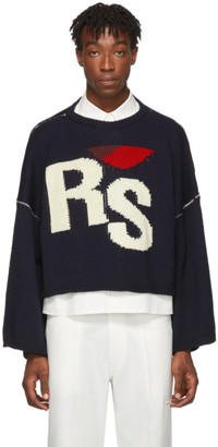 Raf Simons Navy Oversized Cropped RS Sweater