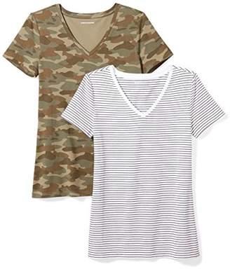 Amazon Essentials Women's 2-Pack Short-Sleeve V-Neck Patterned T-Shirt