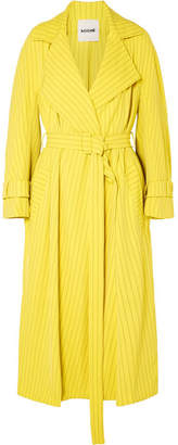 Koché Pinstriped Crepe Trench Coat - Yellow