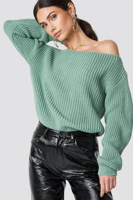 Glamorous Off Shoulder Knitted Top Dusty Mint