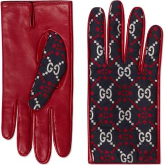 Gucci Leather and Square G gloves