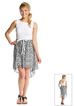 Bee Darlin' Animal Print Lace High Low Dress