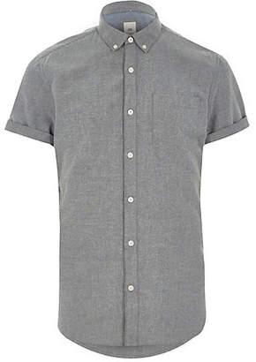 River Island Mens Grey slim fit short sleeve Oxford shirt
