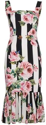 Dolce & Gabbana Rose and Stripe Print Silk Dress