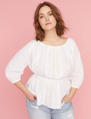 Lane Bryant Embroidered Peasant Top
