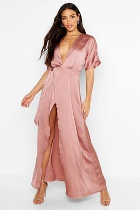 boohoo Boutique Satin Kimono Maxi Dress