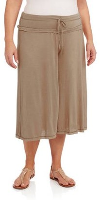 24/7 Comfort Apparel Women's Plus Size Draw String Knee-Length Pant