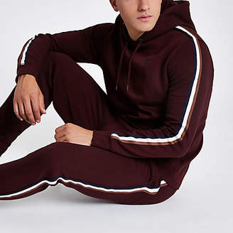 River Island Burgundy slim fit tape sleeve hoodie