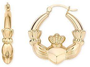 14K Yellow Gold Claddagh Hoop Earrings