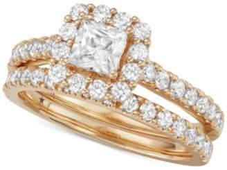Macy's Star Signature DiamondTM Halo Bridal Set (1-1/2 ct. t.w.) in 14k White or Yellow Gold