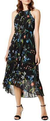 Karen Millen Pleated Floral Print Midi Dress