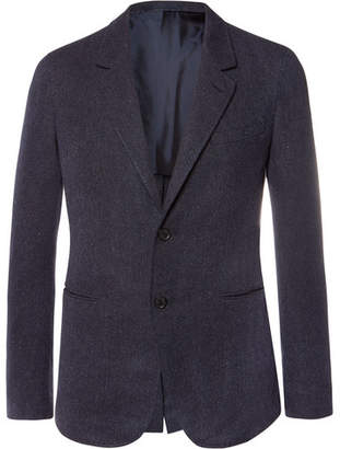 Caruso Navy Butterfly Slim-Fit Unstructured Cotton And Silk-Blend Blazer