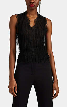 Alberta Ferretti Women's Fringed Floral Lace V-Neck Tank Top - Black