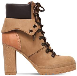 See by Chloe 100mm Suede Lace-Up Hiking Boots