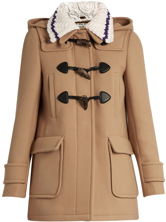 Miu Miu MIU MIU Detachable-collar wool duffle coat