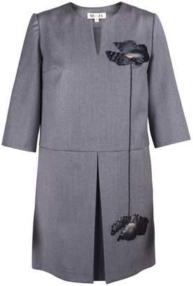 MUZA - Loose Fit Mini Dress With Leather Appliqué
