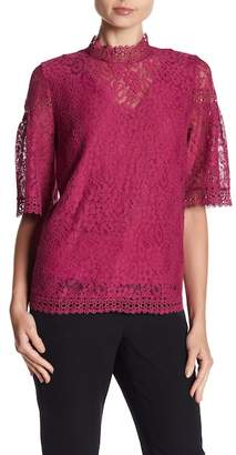 Laundry by Shelli Segal Mock Neck Lace Top