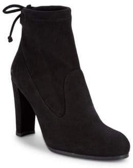 Stuart Weitzman Catch Suede Tie Back Booties