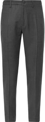 Incotex Dark-Grey Tapered Wool-Blend Trousers