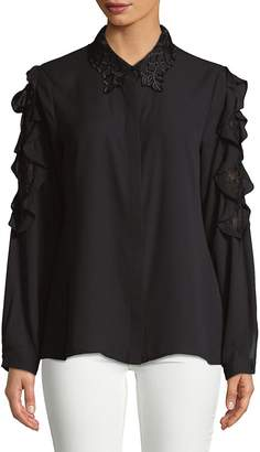 Karl Lagerfeld Paris Women's Lace Collar Button-Down Shirt
