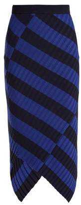 Altuzarra Mallory Asymmetric Striped Ribbed Knit Midi Skirt - Womens - Navy Stripe