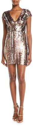 Dress the Population Zoe Brushstroke Sequin V-Neck Mini Dress