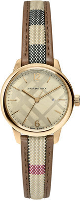 Burberry Women's Swiss The Classic Round Multi-Color Fabric Strap Timepiece 32mm BU10114 $645 thestylecure.com