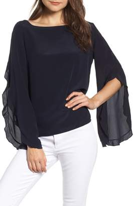 Bailey 44 Thesis Ruffle Angel Sleeve Silk Top