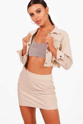 boohoo Petite Cropped Jacket & Skirt Co-Ord