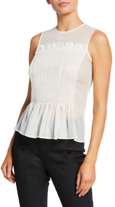 Giorgio Armani Sleeveless Pleated Peplum Blouse