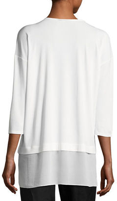 Eileen Fisher 3/4-Sleeve Silk Jersey Blouse $258 thestylecure.com