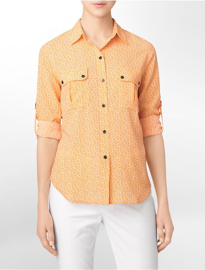 Calvin Klein Logo Printed Roll-Up Sleeve Shirt