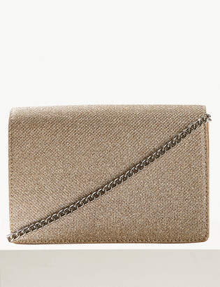 M&S Collection Fold Over Chain Clutch Bag